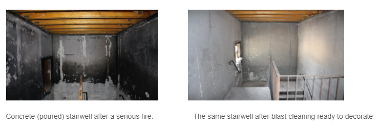 Concrete (poured) stairwell after a serious fire. The same stairwell after blast cleaning ready to decorate